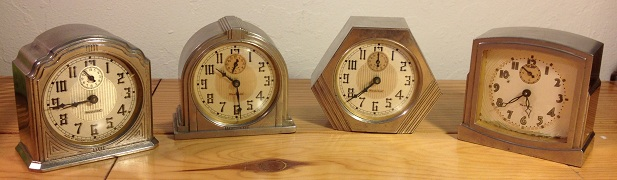 First four of the La Salle series alarm clocks by Westclox, case by Dura.