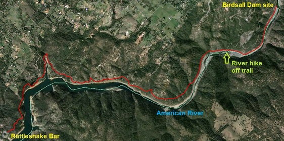 Map of hike from Rattlesnake Bar to Birdsall Dam.