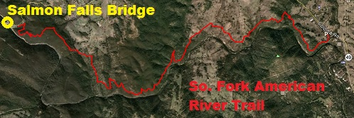 Aerial map of South Fork American River Trail