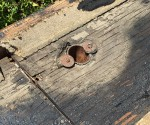 Dry rotted plywood and fascia board where I installed another downspout to drain away standing water.