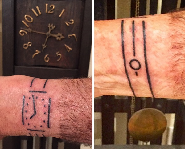 Homemade clock art wrist tattoo design