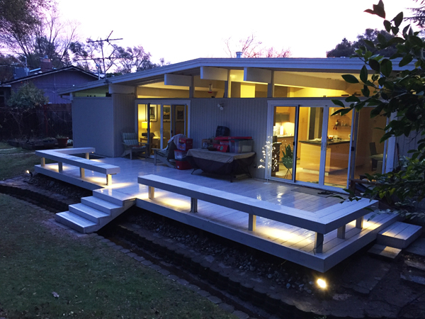 mid century outside extension of interior deck