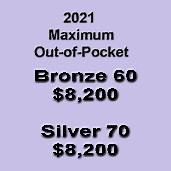 The maximum out-of-pocket amount is the same for the Bronze 60 and Silver 70 plans for 2021.