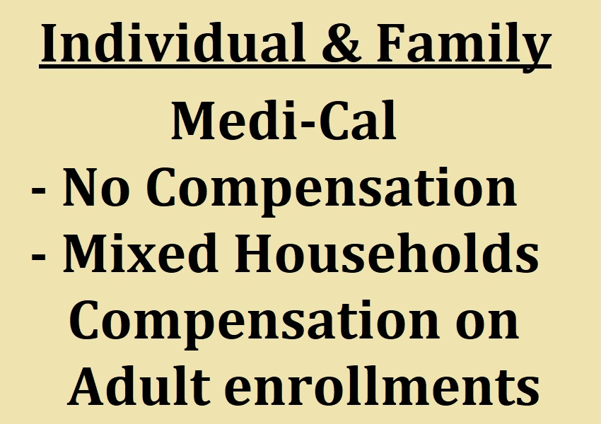 Agents are not compensated for Medi-Cal enrollments in California.
